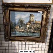 GILT FRAMED OIL ON CANVAS - HOUSE BY THE RIVER - SIGNED