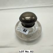 SILVER TOP & BUBBLE GLASS INKWELL - 13 CMS (D)