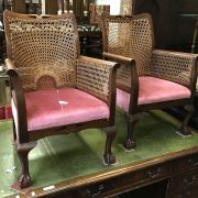 PAIR BERGERE CHAIRS ON BALL & CLAW FEET