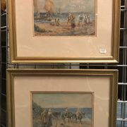 TWO WATERCOLOURS BY THE SEA SIGNED H.GILBERT 28 X 28 IN FRAME