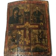 BOW FRONTED GREEK RELIGIOUS ICON 18 /19TH CENTURY - 30 X 30 CMS IN FAIRLY G...