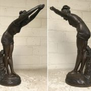 SIGNED ART DECO BRONZE SWIMMER BY ADOARDO TABACCHI - 37 CMS HEIGHT