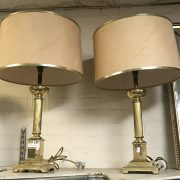 PAIR LARGE BRASS COLUMN TABLE LAMPS
