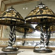 PAIR YELLOW DRAGONFLY TIFFANY STYLE LAMPS 55CMS (H)