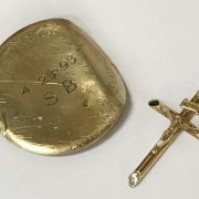 14CT GOLD WATCH BACK WITH A 9CT GOLD CRUCIFIX