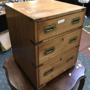 SMALL CAMPAIGN CABINET WITH 3 DRAWERS