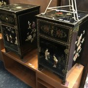 PAIR OF CHINESE SIDE CABINETS WITH JADE & BONE - A/F