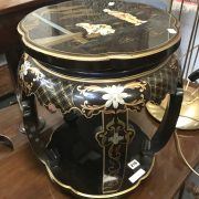 CHINESE BLACK LACQUERED TABLE WITH COMPARTMENT