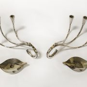 2 PAIR OF DANISH DESIGNER SILVER PLATED CANDLE HOLDERS