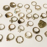 QTY MOSTLY SILVER RINGS WITH SOME GEMSTONES