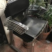 6 STAINLESS STEEL AND LEATHER STACKING CHAIRS