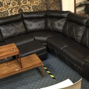 SCS ALEXANDER 7 SEATER POWER RECLINING CORNER SOFA IN BLACK WITH CONTRASTIN...