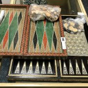 TWO INLAID BACKGAMMON SETS WITH PIECES