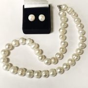 STERLING SILVER LARGE PEARL STUDS & LARGE PEARL NECKLACE