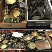 QTY CAST IRON ITEMS INCL. SCALES/ FLAT IRONS ETC