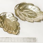 TWO STERLING SILVER GRADUATED LEAF DISHES - LARGEST 32CMS