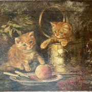 TWO KITTENS AT PLAY - 19THC OIL ON CANVAS - 30CM X 41CM - MINOR RESTORATION...