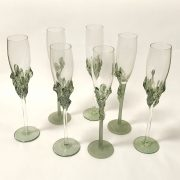7 TAMAIAN FLUTED GLASSES - 3 OPAQUE BASES - 4 CLEAR