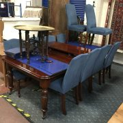 FRANK HUDSON & SON FROM HARRODS MAHOGANY DINING TABLE & 3 LEAVES WITH CHAIR...