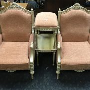 PAIR OF ORNATE ARMCHAIRS, STOOL & SIDE TABLE