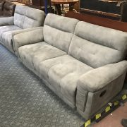 SCS POPPE 3 SEATER & 2 SEATER RECLINER GREY DISON