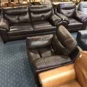 SCS LLOYD BROWN LEATHER 3 SEATER & 2 CHAIRS