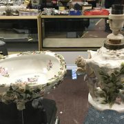 MEISSEN STYLE TABLE LAMP AND BOWL - LAMP 26 CMS (H)