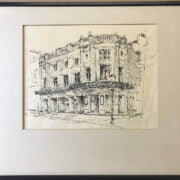 TWO INK DRAWINGS OF LONDON THEATRES