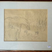 MARCEL VERTES SIGNED PENCIL DRAWING - SLIGHT TEAR TO THE LOWER LEFT CORNER WITH SOME ROLLING CREASING BUT NOT VERY NOTICEABLE 34CM X 25CM