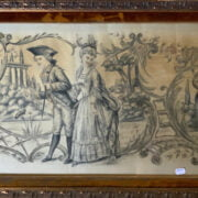 PAINTING ON SILK - FRENCH COURTING SCENE IN GILT FRAME