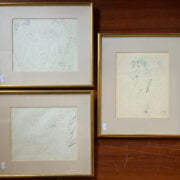 3 SIGNED NUDE STUDIES BY MARCEL VERTES - PENCIL/ INK DRAWINGS - ALL 20CM X 20CM