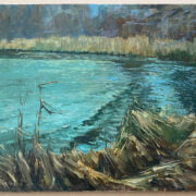 HARRY FRECKLETON 1890-1979 OIL ON BOARD ''THE REED BED'' - SIGNED LOWER RIGHT 41CM  X 51CM - HAS BEEN LAID TO BOARD - VERY GOOD CONDITION