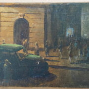 HARRY FRECKLETON 1890-1979 OIL ON BOARD - CITY NIGHT LIFE- SIGNED LOWER RIGHT 41CM X 51CM