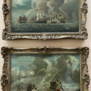 PAIR 18THC OILS ON CANVAS - GUNSHIPS AT BATTLE 24CM X 33CM - HAVE BEEN RE-LINED - VERY GOOD CONDITION - NO OBVIOUS SIGN OF RESTORATION