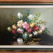 FRANCO MATANIA 1922-2006 LARGE OIL ON CANVAS - STILL LIFE SUMMER FLOWERS IN VASE  61CM X 91CM - VERY GOOD ORIGINAL CONDITION