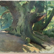 ARTHUR JOHN ELSEY 1861-1952 OIL ON CANVAS LAID TO BOARD - STUDY OF A TREE ON SANDY BANK - STUDIO SALE SOTHERBY 41CM X 51CM - VERY GOOD CONDITION
