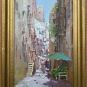 PASQUALE D'ANGELO 1896-1955 OIL ON CANVAS OF  STREET SCENE - SIGNED 30CM X 50CM- HAS BEEN RE-LINED GOOD CONDITION