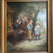 MARK WILLIAM LANGLOIS 1848-1924 OIL ON CANVAS  ''BOY & GIRL SHOWING AN OLD GENTLEMAN AN ITEM OF CURIOSITY'' SIGNED - 43CM X 53CM - HAS BEEN RE-LINES