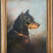 ATTRIBUTED TO MAUD EARL 1864-1943 OIL ON BOARD - PORTRAIT OF A TERRIER - SIGNED WITH INITIALS 30CM X 41CM - GOOD ORIGINAL CONDITION