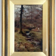 CHISHOLM COLE 1871- 1902 OIL ON CANVAS - SHEEP GRAZING BY STREAM - SIGNED 17CM  X 26CM = GOOD ORIGINAL CONDITION