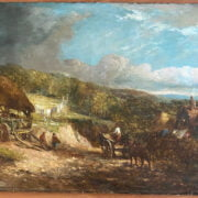 JOHN CONSTABLE 1776-1837 BRITISH (CIRCLE OF) OIL ON CANVAS 'A COUNTRY LANDSCAPE' SIGNED, MEASURE 76CM X 127CM, CONDITION REPORT - GOOD ORIGINAL CONDITION, MINOR PATCH REPAIRS