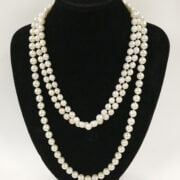 TWO PEARL NECKLACES - 1 9CT CLASP & 1 14CT CLASP