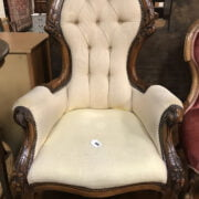 MAHOGANY BUTTON BACK GRANDFATHER CHAIR