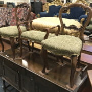 PAIR OF CHAIRS & STOOL