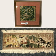 HUNTING SCENE ON PERSIAN STYLE SILK SMALL RUG WITH CHINESE WRITING & FRAMED ORIENTAL EMBROIDERY