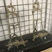 PAIR LARGE BRASS EASELS