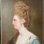 """18th Century French School. Oil on canvas. """"Portrait of a Lady with Pearl Earrings"""""""
