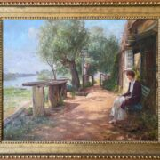 """Ernest Walbourn 1872-1927. British. Oil on canvas. """"A Woman Waiting for the Ferry Boat""""."""