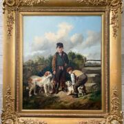 """William Walker Morris fl 1850-1867. British. Oil on canvas. """"Two Boys with Setters and a Terrier."""