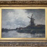 """Jan Van Couver 1836-1909. Dutch. Exhibition oil on canvas. """"A River Landscape with Windmill. Signed."""